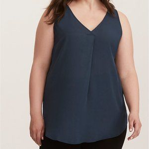 BNWT GEORGETTE PLEATED V-NECK TUNIC TANK TOP